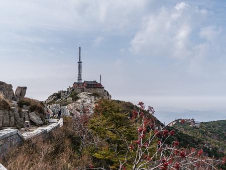 Scenic view at the peak of the Mount Tai, Taishan, Shandong 新聞圖片