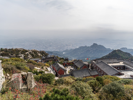 High angle view of a temple on the Mount Tai, Taishan, Shandong