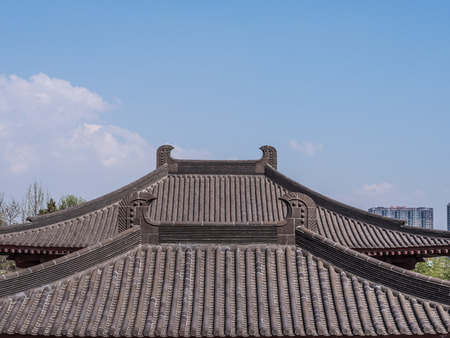 Roofs of chinese buildings in Xian city Editorial