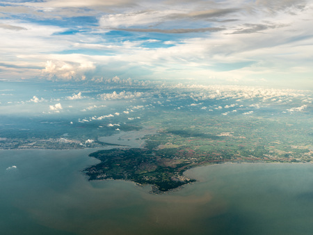 Aerial view of land and sea