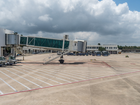 View of a jet bridge in an airport