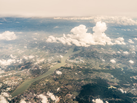 Aerial view of clouds above land