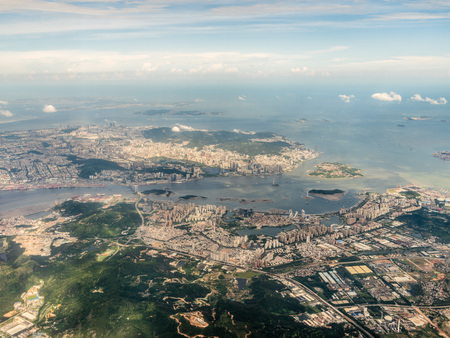 Aerial view of a seaside city