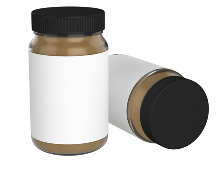 3D realistic render of peanut Butter on white background. Black lid. Empty label. Clipping path.