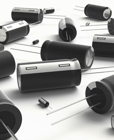 3D realistic render of black group capacitors on white background with shadow.
