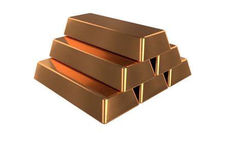 Rendu 3D réaliste des barres de bronze ou de cuivre. Isolé sur fond blanc.