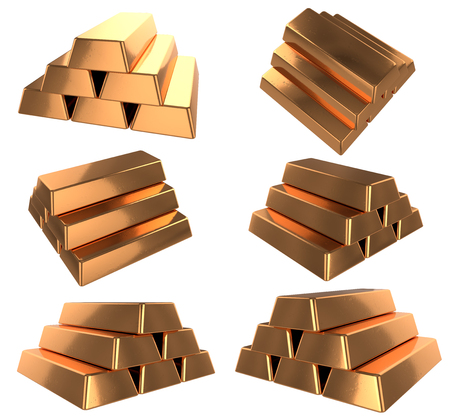 3D realistic render of pile bronz or copper bars. Isolated on white background.