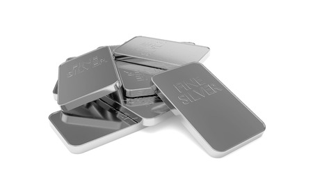 3D realistic render of silver bars. Isolated on white background.