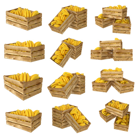 3d render of wooden box. Full of bananas fruit. Isolated on white background. Different views.