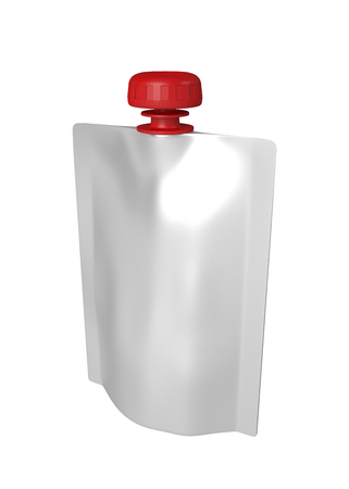 3D realistic render of white plastic for children with red lid. Close-up of a shadow