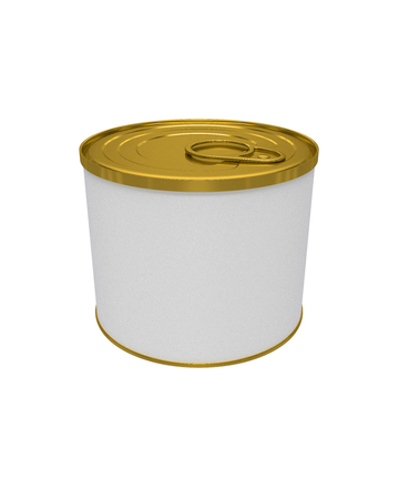 3D Realistic Render of White Blank Tin Can Metal Tin Can, Canned Food. Ready For Your Design. Clipping path. Isolated on white background.