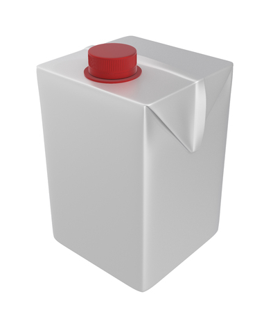 3d realistic render of milk, juice or cream small carton. Red people. White background.