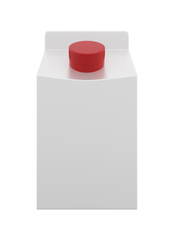 3d realistic render of a small white box with red lid. Milk, juice or cream. With shadow. Standard-Bild