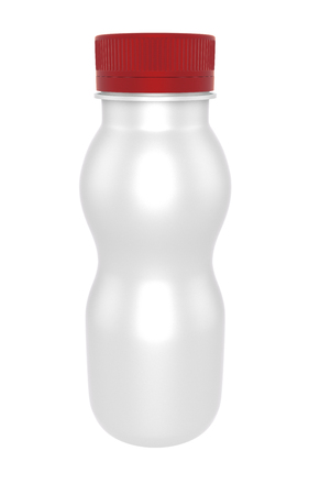 3D realistic render of a bottle of milk and yoghurt.