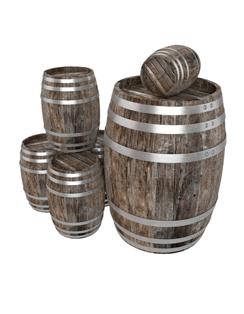 3d realistic render of a group of old dark wood barrel. White background. Shadows. Clipping path Banco de Imagens