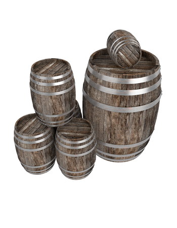 3d realistic render of a group of old dark wood barrel. White background. Shadows. Clipping path Stockfoto