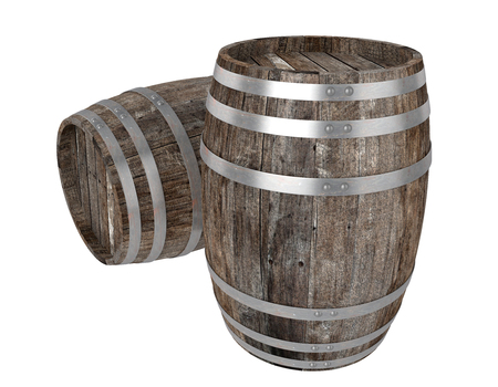 3d realistic render of two old dark wood barrel. White background. Shadows. Clipping path 스톡 콘텐츠