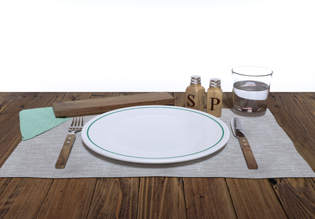 3d realistic render of empty plate on wooden table. Salt, pepper, serviette, glass of water and wooden cutlery. Isolated on white background.