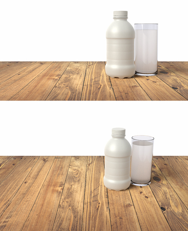 3d realistic render of a fresh milk packing template with a glass of milk on a wooden table. Isolated on white background. Фото со стока