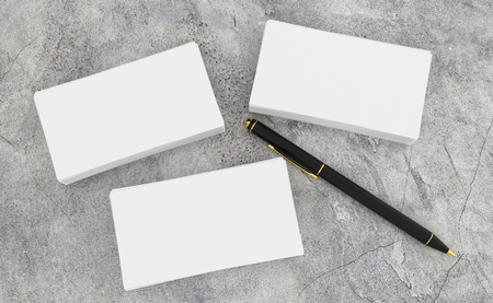 3d render of blank white Business card presentation of corporate ID with black pen on concrete desk.