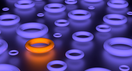 Abstract render of group glowing violet torus and one orange. On black background