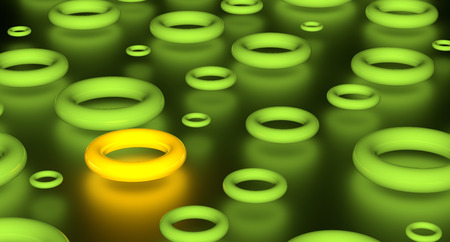 Abstract render of group glowing green torus and one yellow. On black background