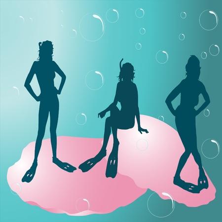 oxygen mask: Girls under the sea