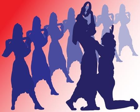 Serbian folk dances Stock Vector - 9865699