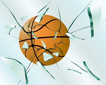 Basketball smashes glass Stock Vector - 10769579