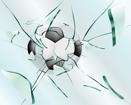 glass break: Football smashes glass Illustration