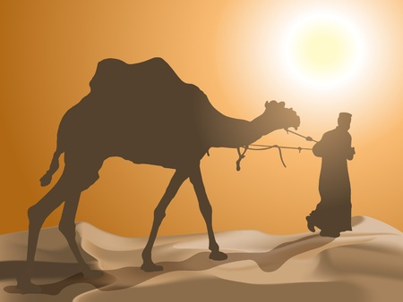 Man and camel in the desert Vector