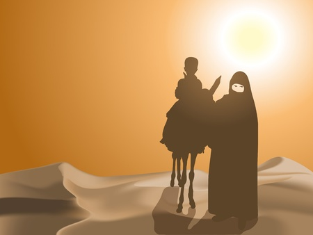 Woman and child in the desert Vector
