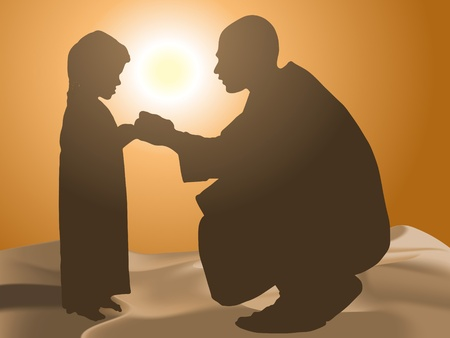 muslim girl: Man and child in the desert Illustration