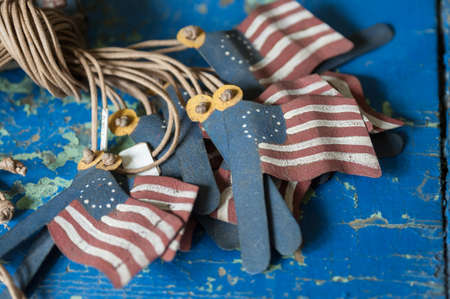 American flag pendants found on a table in an antique shop Stock Photo