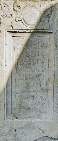 stele: Marble stele anouncing the death of pretorian in latin from Philipopolis in Roman Empire