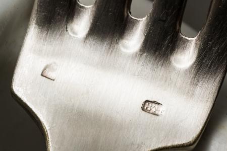 Silver sterling fork stamp macro