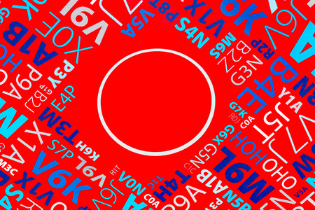 Composition of letters and digits on bright red background