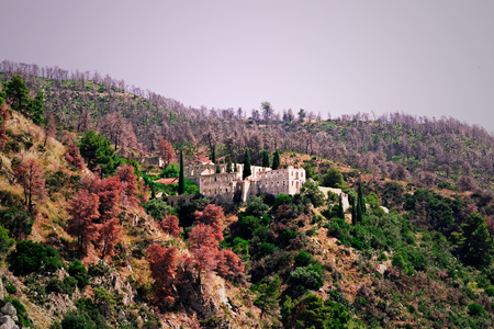 Ruins of New Thebais ancient monastery at Mount Athos Greece