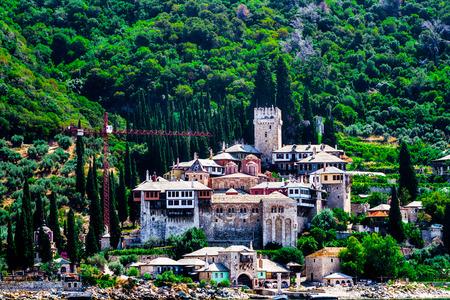 The Holy Orthodox Monastery of Docheiariou at Mount Athos Greece closeup