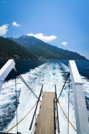 Mount Athos Greece from the ship in Mediteranean sea