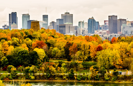 Montreal dowtown skyscrapers in autumn
