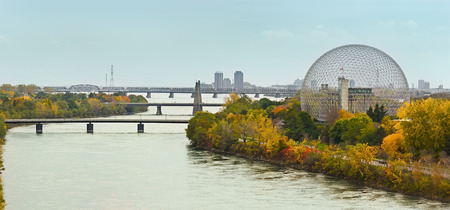 Montreal bridges over St.Laurence river in autumn