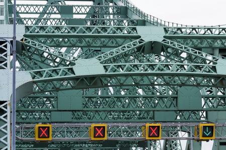 rivets: Beams joints and rivets on steel bridge closeup Stock Photo