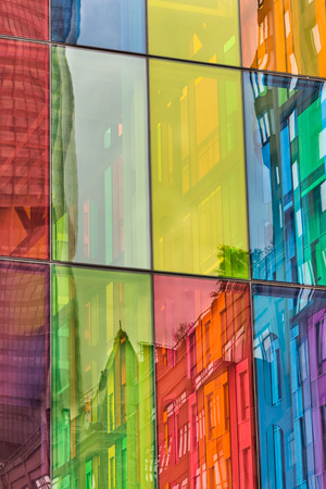 postmodern: Urban reflections on colored windows of Montreal Convention Center