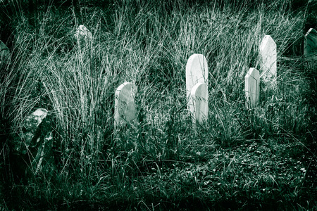 Muslim graveyard stones dualtone black and white retro Banco de Imagens