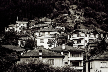 rooftiles: Small muslim vilage in high mountains in black and white