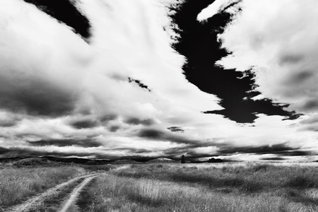 cart road: Rural landscape with  cart road going to far horizon and heavy rain clouds wide angle black and white