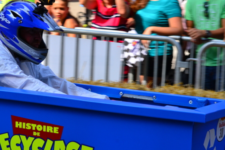 ingenious: Montreal, Canada - September 06, 2015: Montreal Red Bull Soapboax Race in Montreal Downtow.A lot of fun and ingenious ideas.Number 30-Histoire de recyclage Quebec team.