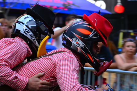 red bull: Montreal, Canada - September 06, 2015: Montreal Red Bull Soapboax Race in Montreal Downtow.A lot of fun and ingenious ideas.Number 25-Oktober fest team. Editorial