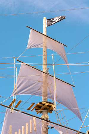 Wooden galeon in Montreal Old port build for summer amusement Standard-Bild